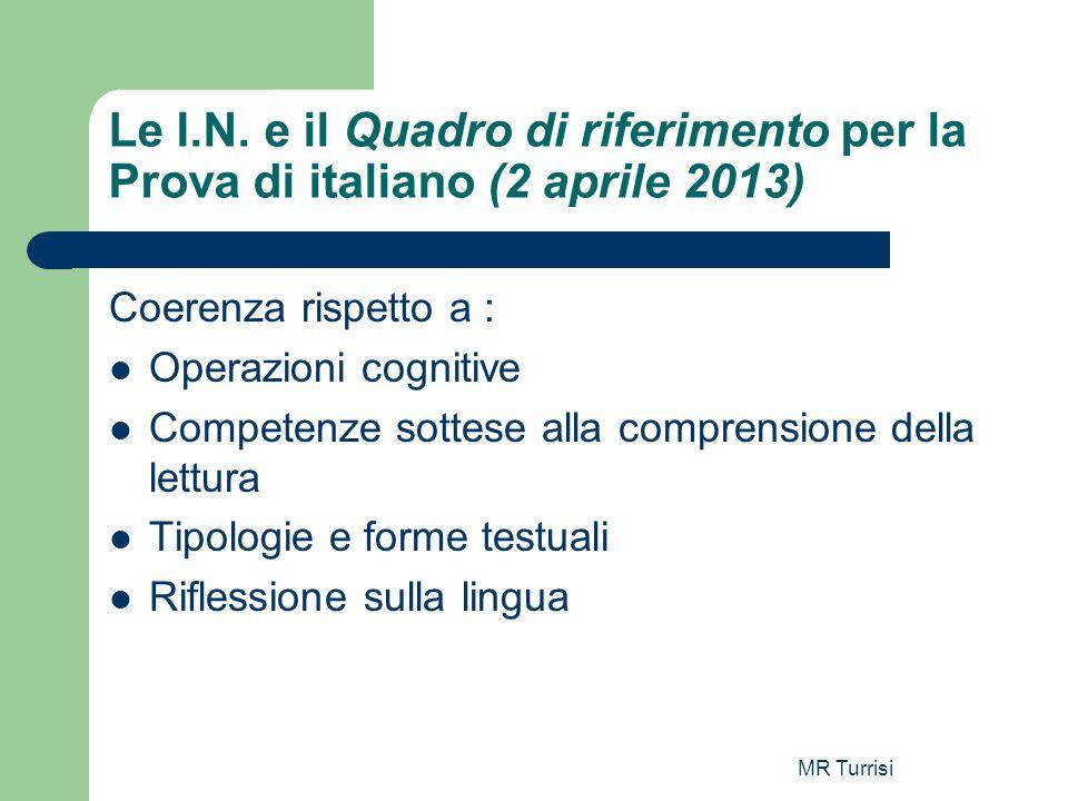 MR Turrisi Le I.N. e il Quadro di riferimento per la Prova di italiano (2 aprile 2013) Coerenza rispetto a : Operazioni cognitive Competenze sottese a