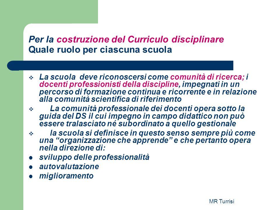 MR Turrisi Per la costruzione del Curriculo disciplinare Quale ruolo per ciascuna scuola La scuola deve riconoscersi come comunità di ricerca; i docen