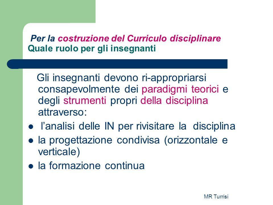 MR Turrisi Per la costruzione del Curriculo disciplinare Quale ruolo per gli insegnanti Gli insegnanti devono ri-appropriarsi consapevolmente dei para