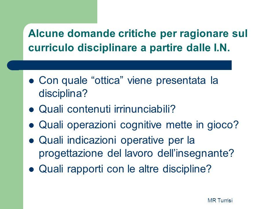 MR Turrisi Alcune domande critiche per ragionare sul curriculo disciplinare a partire dalle I.N. Con quale ottica viene presentata la disciplina? Qual