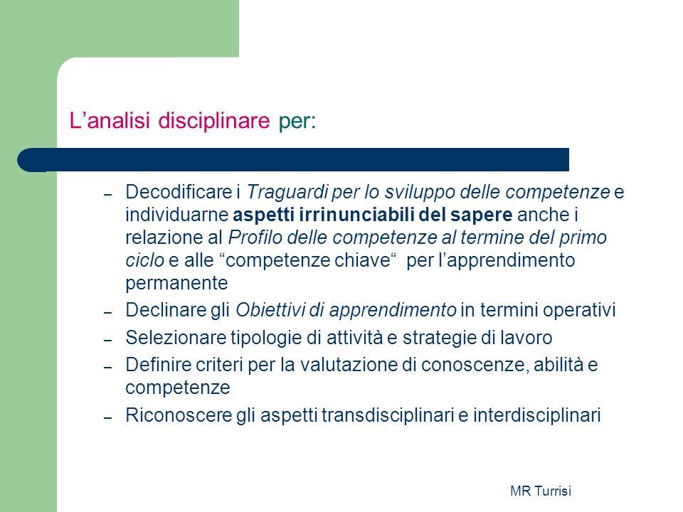 MR Turrisi Lanalisi disciplinare per: – Decodificare i Traguardi per lo sviluppo delle competenze e individuarne aspetti irrinunciabili del sapere anc