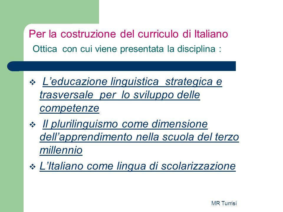 MR Turrisi Per la costruzione del curriculo di Italiano Ottica con cui viene presentata la disciplina : Leducazione linguistica strategica e trasversa
