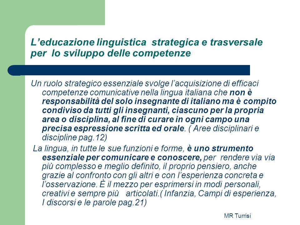 MR Turrisi Leducazione linguistica strategica e trasversale per lo sviluppo delle competenze Un ruolo strategico essenziale svolge lacquisizione di ef