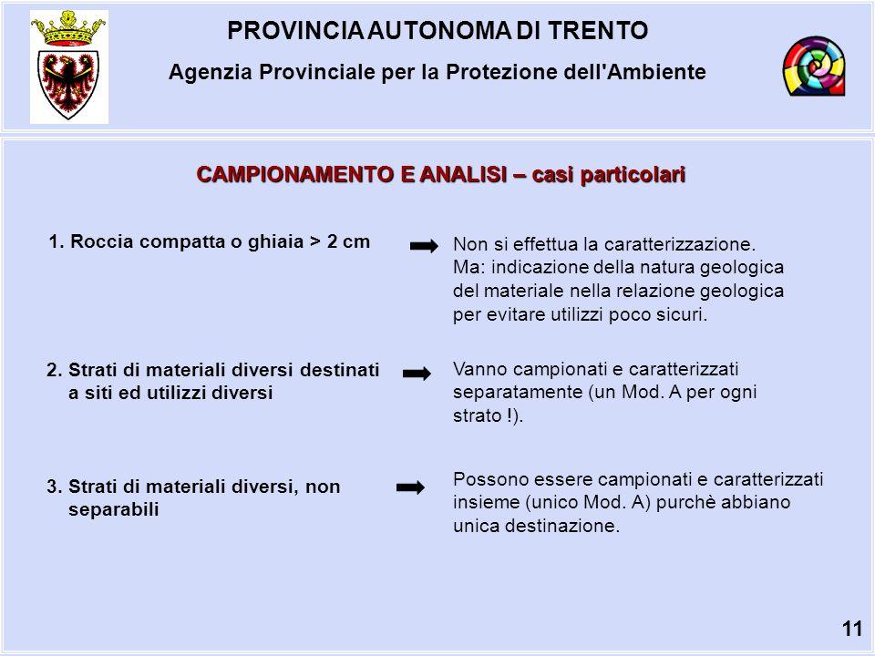 PROVINCIA AUTONOMA DI TRENTO Agenzia Provinciale per la Protezione dell Ambiente CAMPIONAMENTO E ANALISI – casi particolari 1.