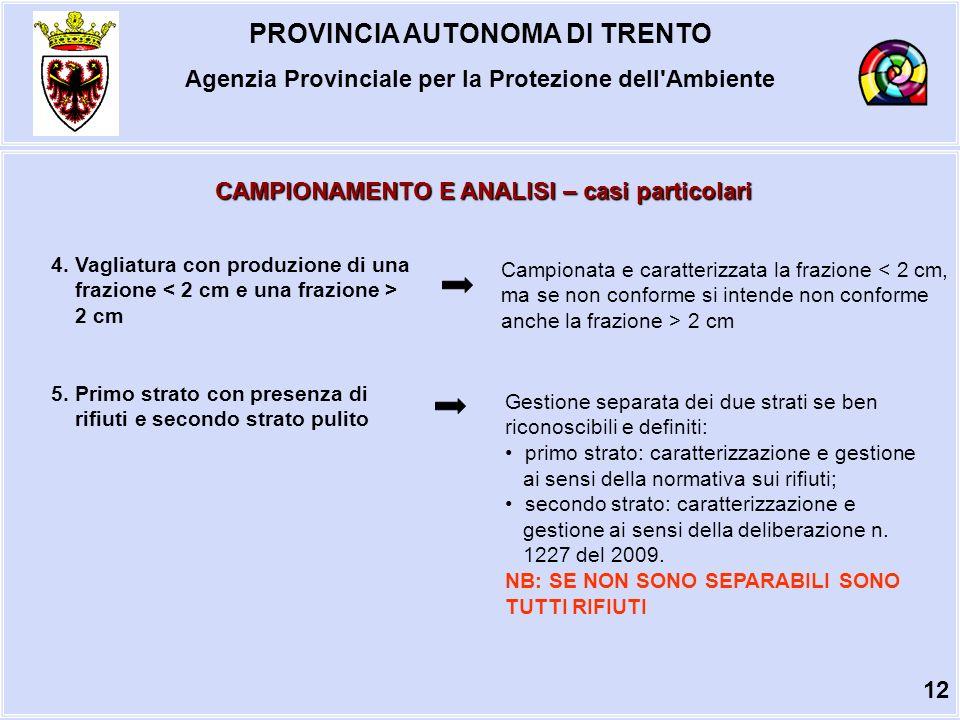 PROVINCIA AUTONOMA DI TRENTO Agenzia Provinciale per la Protezione dell Ambiente CAMPIONAMENTO E ANALISI – casi particolari 4.