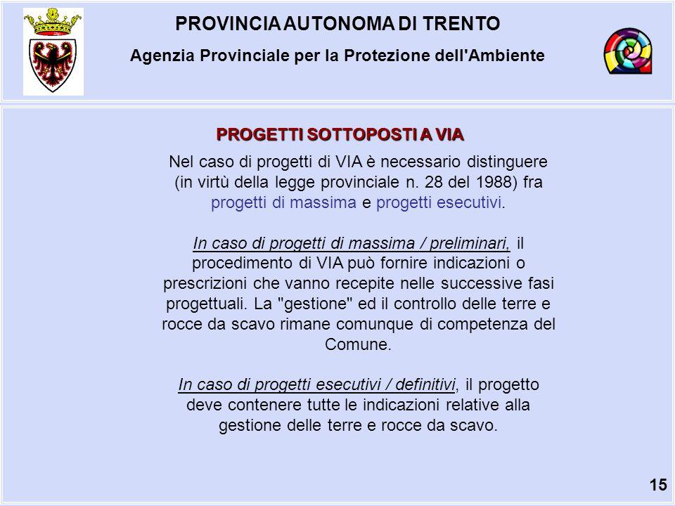 PROVINCIA AUTONOMA DI TRENTO Agenzia Provinciale per la Protezione dell Ambiente PROGETTI SOTTOPOSTI A VIA Nel caso di progetti di VIA è necessario distinguere (in virtù della legge provinciale n.