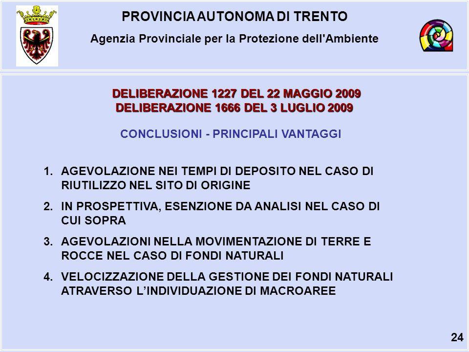 PROVINCIA AUTONOMA DI TRENTO Agenzia Provinciale per la Protezione dell Ambiente DELIBERAZIONE 1227 DEL 22 MAGGIO 2009 DELIBERAZIONE 1666 DEL 3 LUGLIO 2009 CONCLUSIONI - PRINCIPALI VANTAGGI 1.AGEVOLAZIONE NEI TEMPI DI DEPOSITO NEL CASO DI RIUTILIZZO NEL SITO DI ORIGINE 2.IN PROSPETTIVA, ESENZIONE DA ANALISI NEL CASO DI CUI SOPRA 3.AGEVOLAZIONI NELLA MOVIMENTAZIONE DI TERRE E ROCCE NEL CASO DI FONDI NATURALI 4.VELOCIZZAZIONE DELLA GESTIONE DEI FONDI NATURALI ATRAVERSO LINDIVIDUAZIONE DI MACROAREE 24