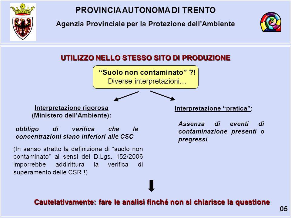 PROVINCIA AUTONOMA DI TRENTO Agenzia Provinciale per la Protezione dell Ambiente UTILIZZO NELLO STESSO SITO DI PRODUZIONE Suolo non contaminato ?.