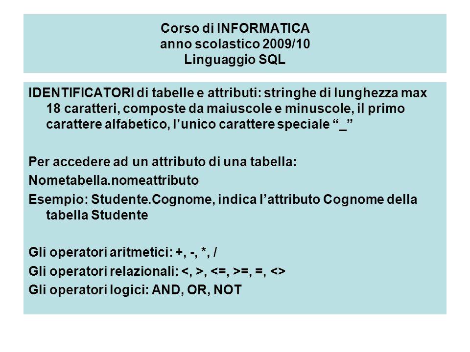 Corso di INFORMATICA anno scolastico 2009/10 Linguaggio SQL IDENTIFICATORI di tabelle e attributi: stringhe di lunghezza max 18 caratteri, composte da maiuscole e minuscole, il primo carattere alfabetico, lunico carattere speciale _ Per accedere ad un attributo di una tabella: Nometabella.nomeattributo Esempio: Studente.Cognome, indica lattributo Cognome della tabella Studente Gli operatori aritmetici: +, -, *, / Gli operatori relazionali:, =, =, <> Gli operatori logici: AND, OR, NOT