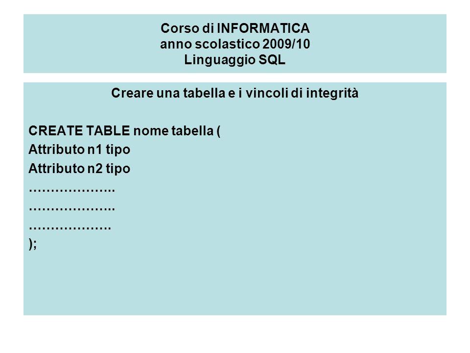 Corso di INFORMATICA anno scolastico 2009/10 Linguaggio SQL Creare una tabella e i vincoli di integrità CREATE TABLE nome tabella ( Attributo n1 tipo Attributo n2 tipo ………………..