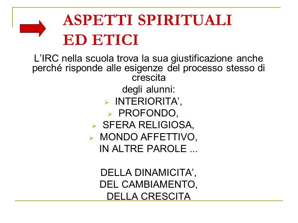ASPETTI SPIRITUALI ED ETICI LIRC nella scuola trova la sua giustificazione anche perché risponde alle esigenze del processo stesso di crescita degli a