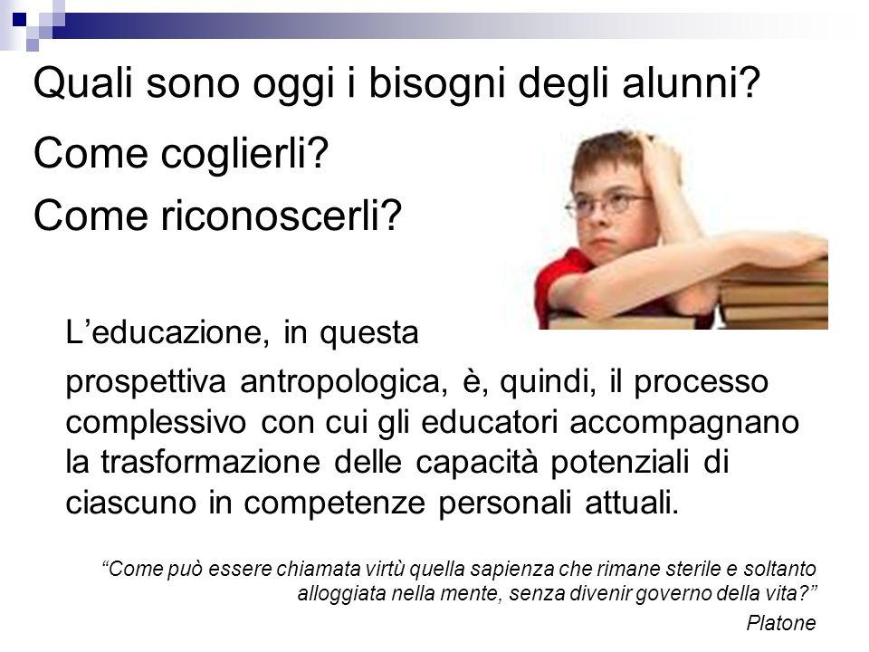 Quali sono oggi i bisogni degli alunni? Come coglierli? Come riconoscerli? Leducazione, in questa prospettiva antropologica, è, quindi, il processo co