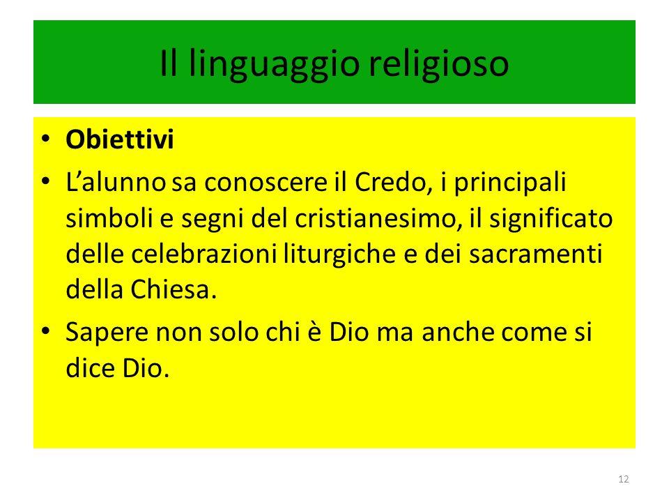 Il linguaggio religioso Obiettivi Lalunno sa conoscere il Credo, i principali simboli e segni del cristianesimo, il significato delle celebrazioni lit