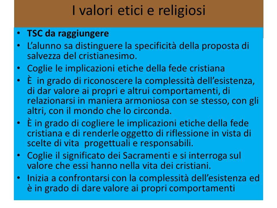 I valori etici e religiosi 13 TSC da raggiungere Lalunno sa distinguere la specificità della proposta di salvezza del cristianesimo. Coglie le implica