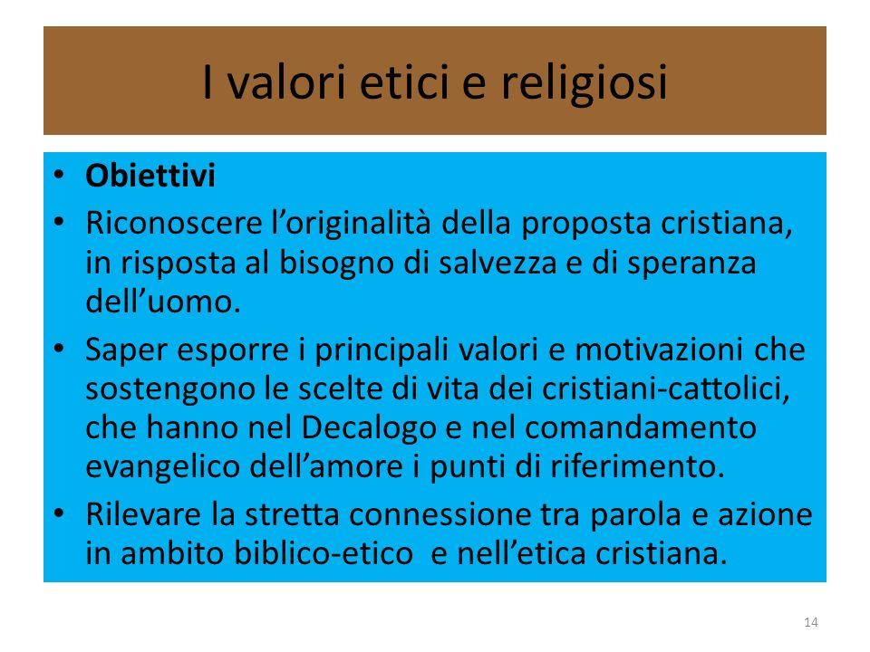 I valori etici e religiosi Obiettivi Riconoscere loriginalità della proposta cristiana, in risposta al bisogno di salvezza e di speranza delluomo. Sap