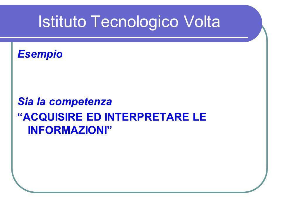 Istituto Tecnologico Volta Esempio Sia la competenza ACQUISIRE ED INTERPRETARE LE INFORMAZIONI