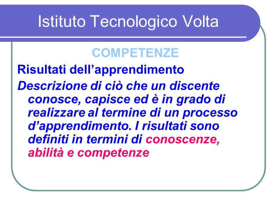 Istituto Tecnologico Volta Che dovranno essere certificate Accertare non ciò che lo studente sa, ma ciò che sa fare con quello che sa M.