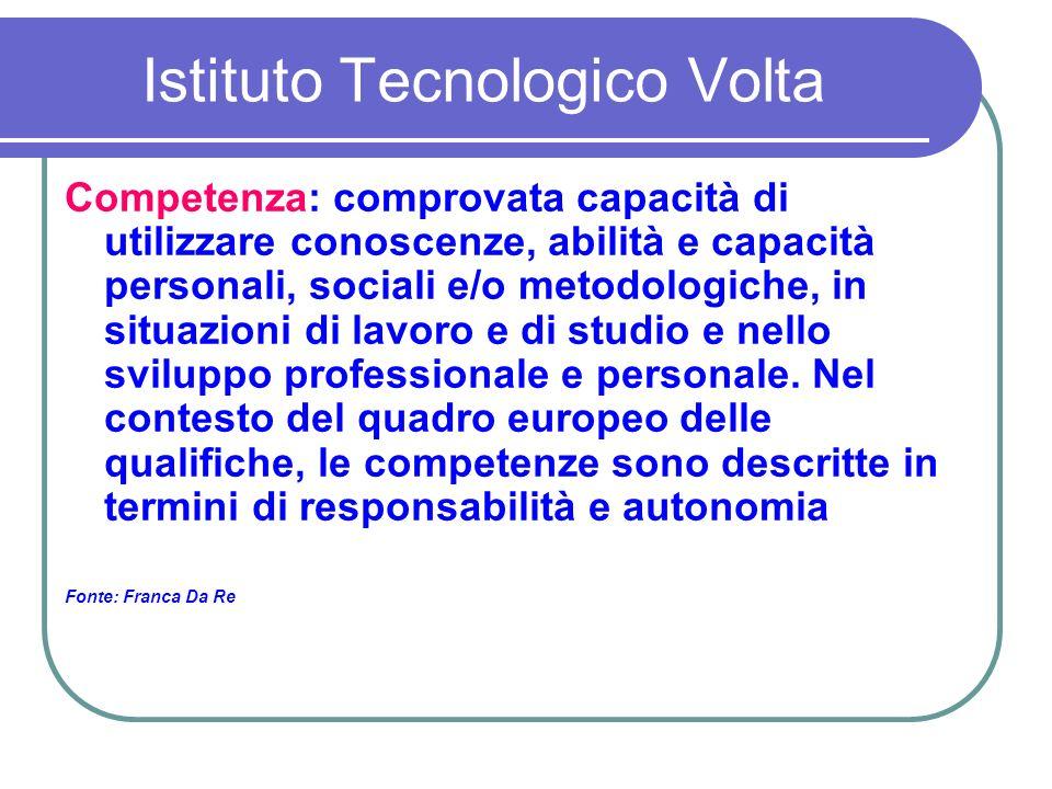 Istituto Tecnologico Volta Competenza: comprovata capacità di utilizzare conoscenze, abilità e capacità personali, sociali e/o metodologiche, in situazioni di lavoro e di studio e nello sviluppo professionale e personale.
