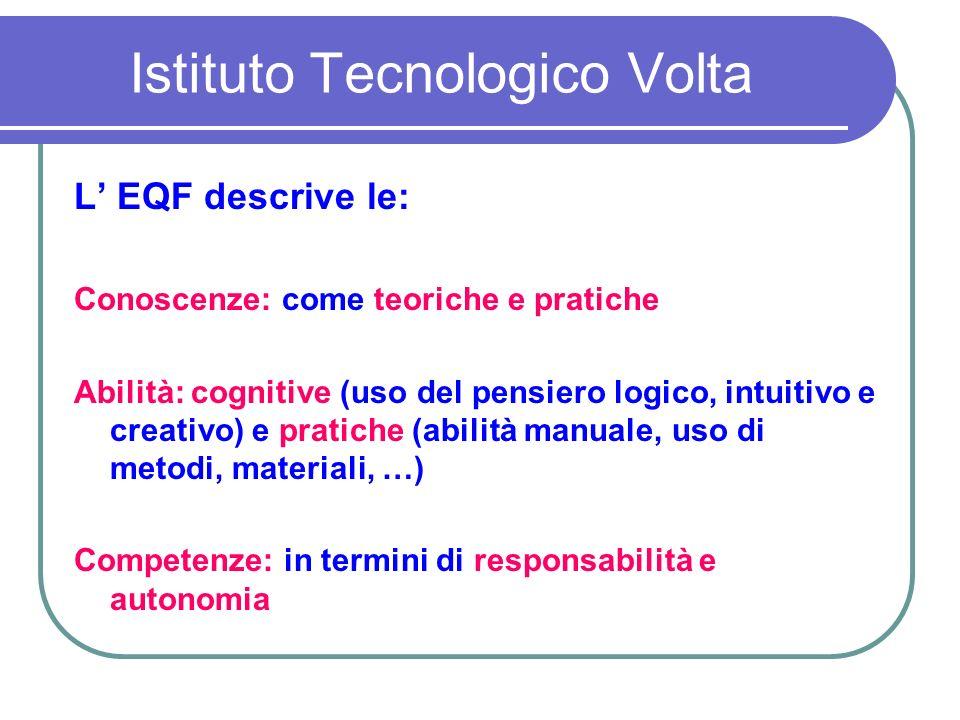 Istituto Tecnologico Volta L EQF descrive le: Conoscenze: come teoriche e pratiche Abilità: cognitive (uso del pensiero logico, intuitivo e creativo) e pratiche (abilità manuale, uso di metodi, materiali, …) Competenze: in termini di responsabilità e autonomia