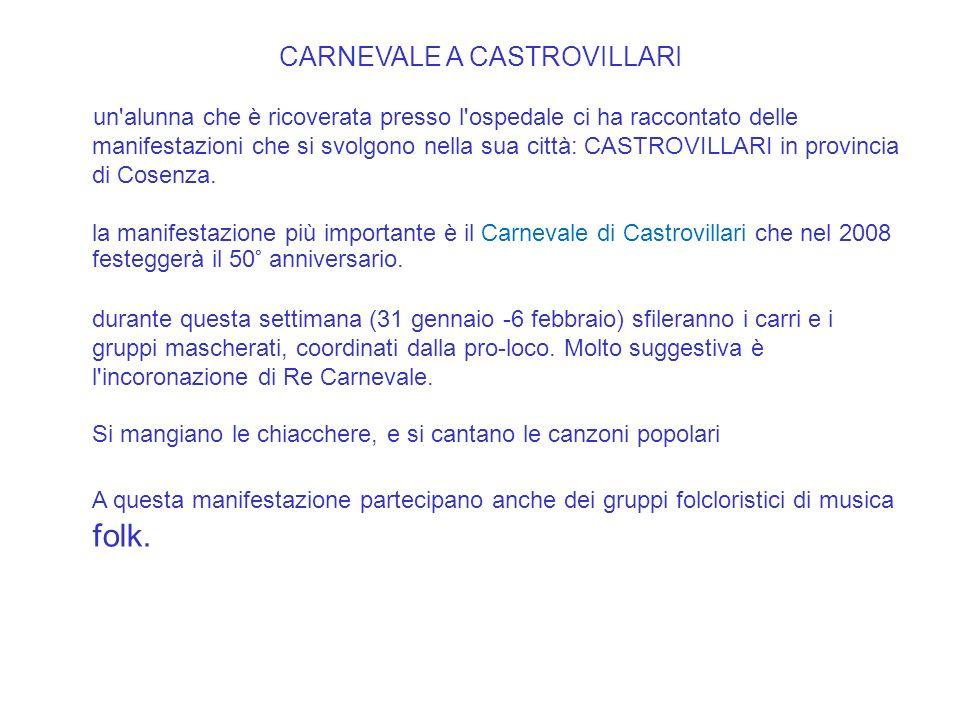 CARNEVALE A CASTROVILLARI un alunna che è ricoverata presso l ospedale ci ha raccontato delle manifestazioni che si svolgono nella sua città: CASTROVILLARI in provincia di Cosenza.