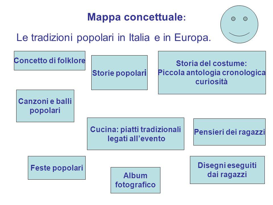 Mappa concettuale : Le tradizioni popolari in Italia e in Europa. Canzoni e balli popolari Storie popolar i Feste popolari Cucina: piatti tradizionali