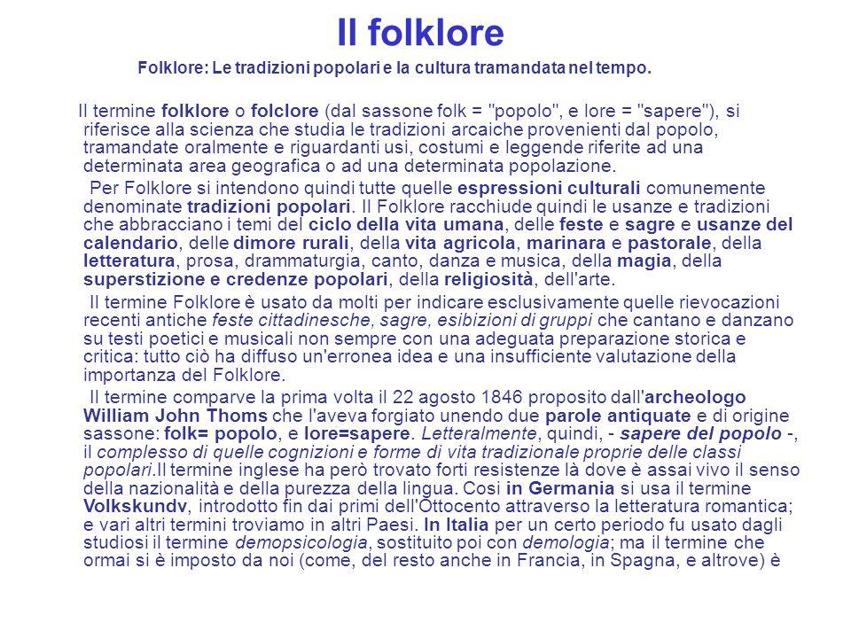 Il folklore Folklore: Le tradizioni popolari e la cultura tramandata nel tempo. Il termine folklore o folclore (dal sassone folk =