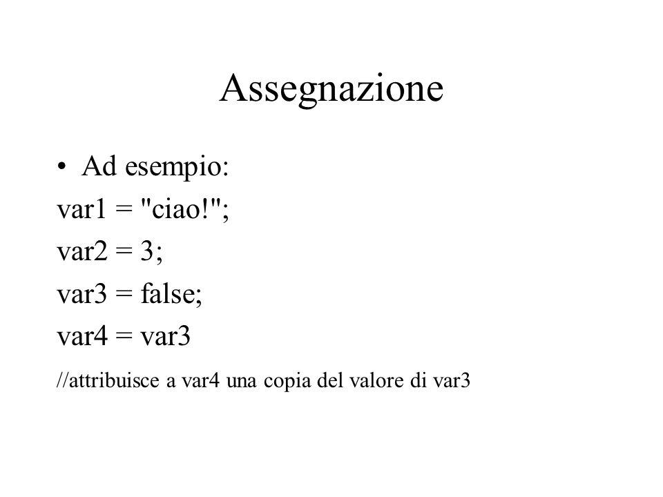 Assegnazione Ad esempio: var1 =