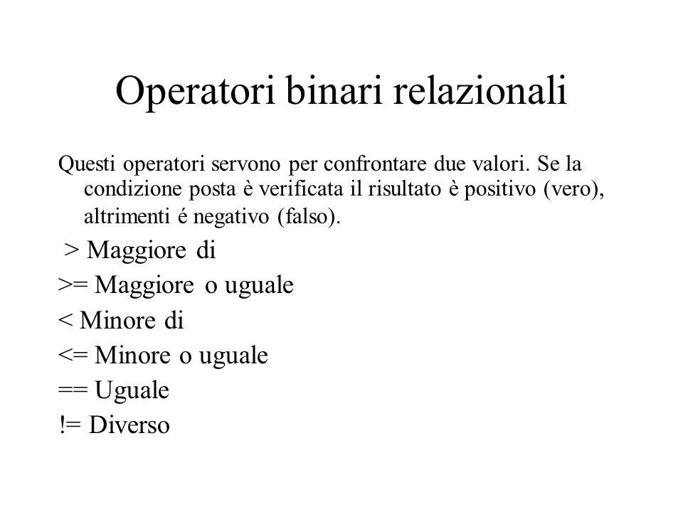 Operatori binari relazionali Questi operatori servono per confrontare due valori. Se la condizione posta è verificata il risultato è positivo (vero),