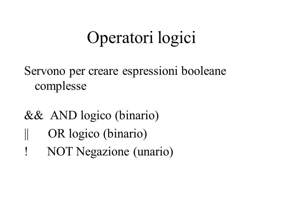 Operatori logici Servono per creare espressioni booleane complesse && AND logico (binario) || OR logico (binario) ! NOT Negazione (unario)
