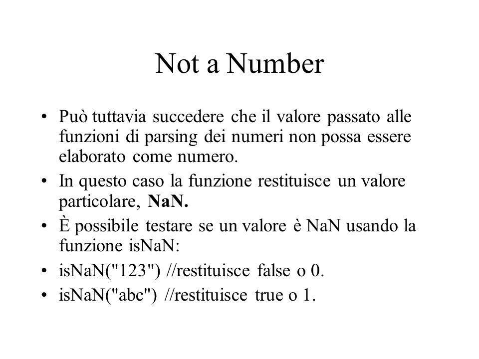 Not a Number Può tuttavia succedere che il valore passato alle funzioni di parsing dei numeri non possa essere elaborato come numero. In questo caso l