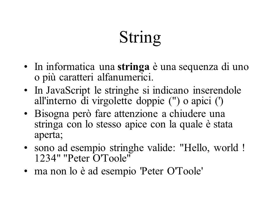String In informatica una stringa è una sequenza di uno o più caratteri alfanumerici. In JavaScript le stringhe si indicano inserendole all'interno di