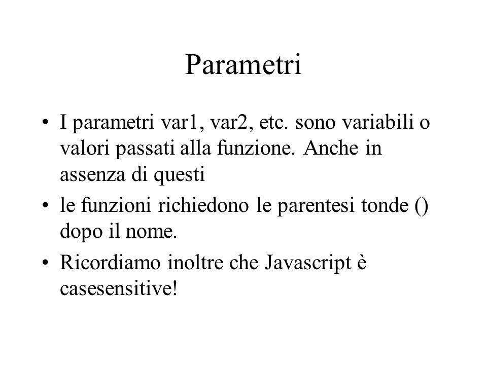 Parametri I parametri var1, var2, etc. sono variabili o valori passati alla funzione.