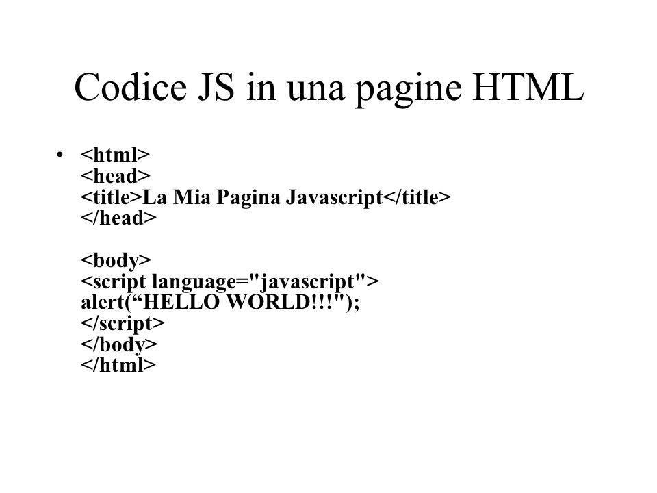 Codice JS in una pagine HTML La Mia Pagina Javascript alert(HELLO WORLD!!!