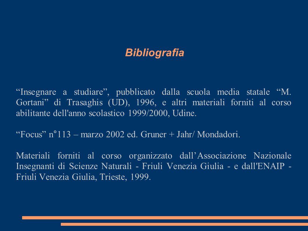 Bibliografia Insegnare a studiare, pubblicato dalla scuola media statale M. Gortani di Trasaghis (UD), 1996, e altri materiali forniti al corso abilit