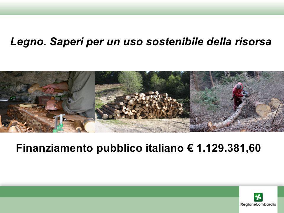Legno. Saperi per un uso sostenibile della risorsa Finanziamento pubblico italiano 1.129.381,60