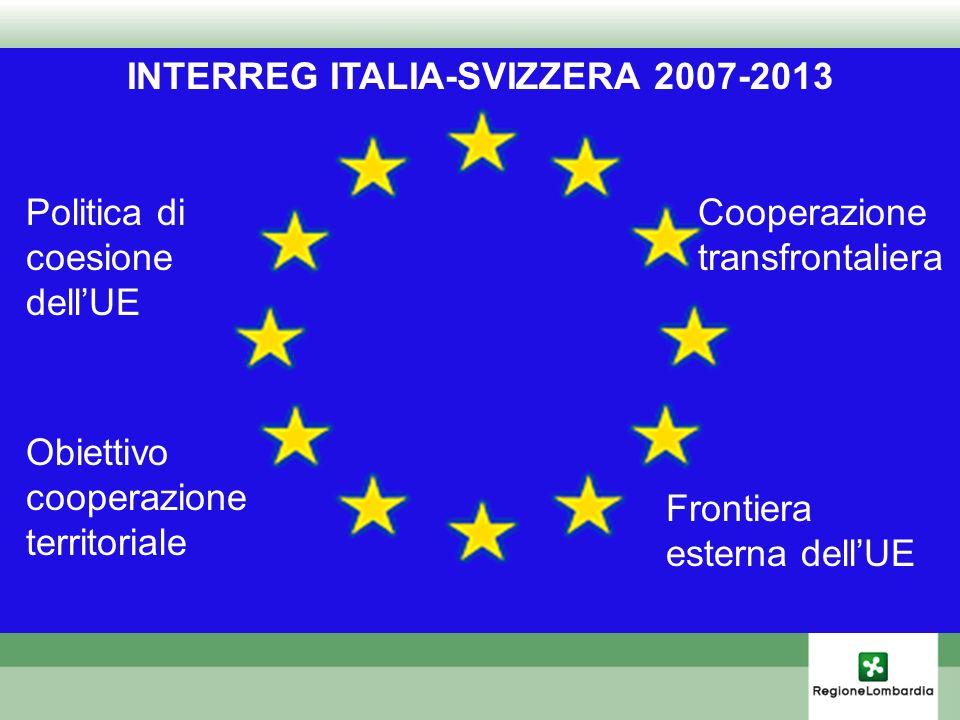 INTERREG ITALIA-SVIZZERA 2007-2013 Politica di coesione dellUE Obiettivo cooperazione territoriale Cooperazione transfrontaliera Frontiera esterna del