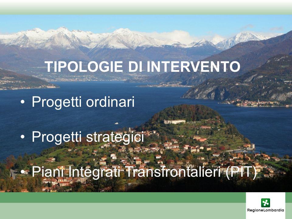 TIPOLOGIE DI INTERVENTO Progetti ordinari Progetti strategici Piani Integrati Transfrontalieri (PIT)