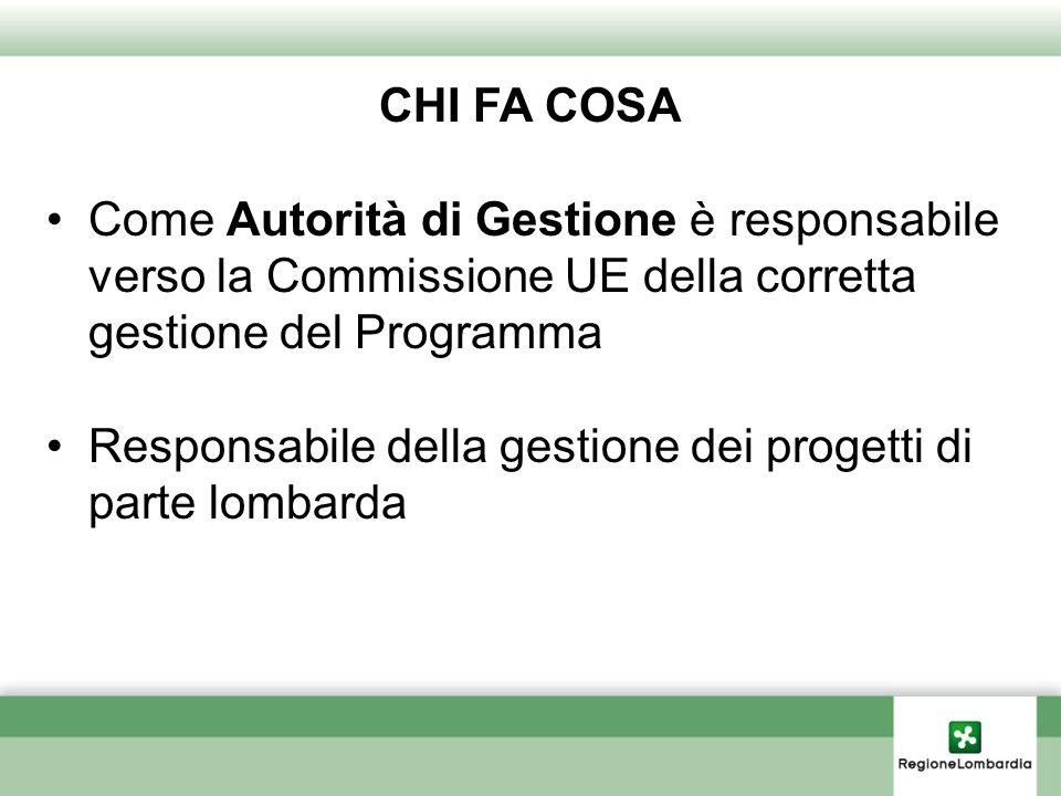 CHI FA COSA Come Autorità di Gestione è responsabile verso la Commissione UE della corretta gestione del Programma Responsabile della gestione dei pro