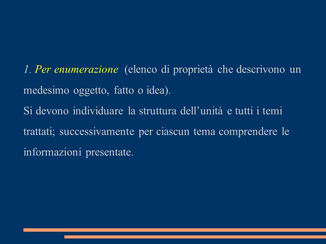 1.Per enumerazione (elenco di proprietà che descrivono un medesimo oggetto, fatto o idea).
