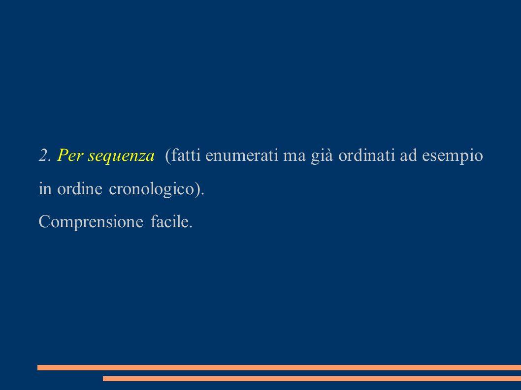 2.Per sequenza (fatti enumerati ma già ordinati ad esempio in ordine cronologico).