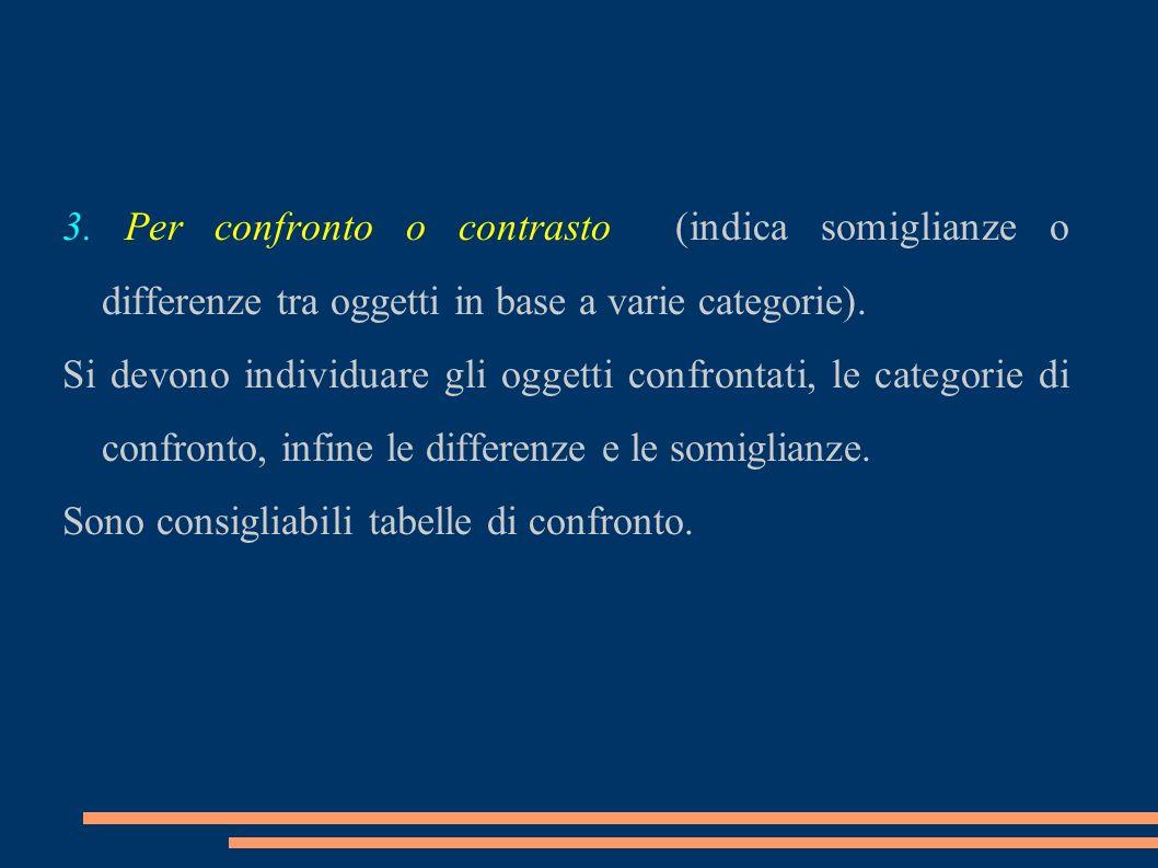 3. Per confronto o contrasto (indica somiglianze o differenze tra oggetti in base a varie categorie). Si devono individuare gli oggetti confrontati, l