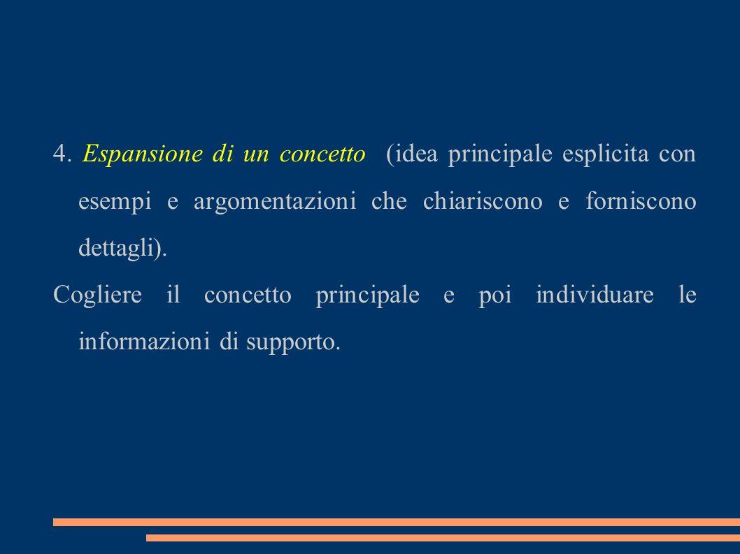 4. Espansione di un concetto (idea principale esplicita con esempi e argomentazioni che chiariscono e forniscono dettagli). Cogliere il concetto princ