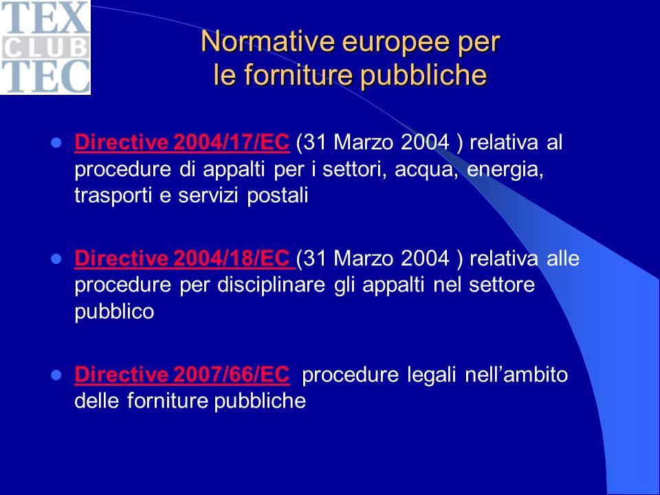 Normative europee per le forniture pubbliche Directive 2004/17/EC (31 Marzo 2004 ) relativa al procedure di appalti per i settori, acqua, energia, trasporti e servizi postali Directive 2004/17/EC Directive 2004/18/EC (31 Marzo 2004 ) relativa alle procedure per disciplinare gli appalti nel settore pubblico Directive 2004/18/EC Directive 2007/66/EC procedure legali nellambito delle forniture pubbliche