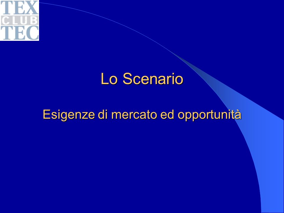 Lo Scenario Esigenze di mercato ed opportunità
