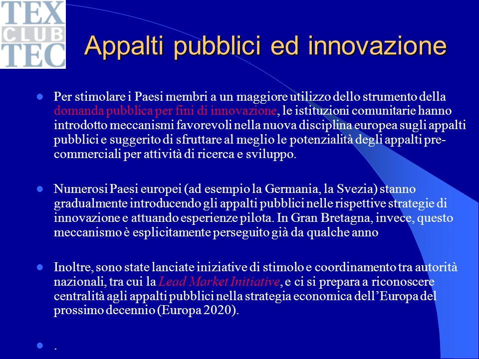 Normative europee per le forniture pubbliche Risoluzione del Parlamento europeo del 21 ottobre 2010 sul futuro della normazione europea (Rapporto IMCO) La normazione negli appalti pubblici ………………………….