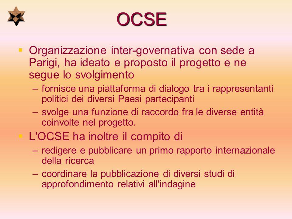 OCSE Organizzazione inter-governativa con sede a Parigi, ha ideato e proposto il progetto e ne segue lo svolgimento – –fornisce una piattaforma di dia