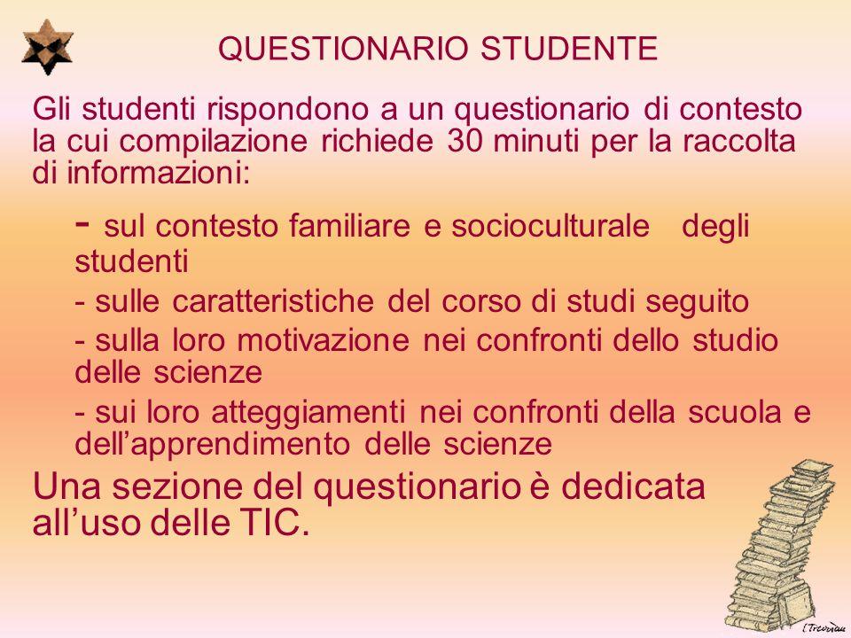 QUESTIONARIO STUDENTE Gli studenti rispondono a un questionario di contesto la cui compilazione richiede 30 minuti per la raccolta di informazioni: -