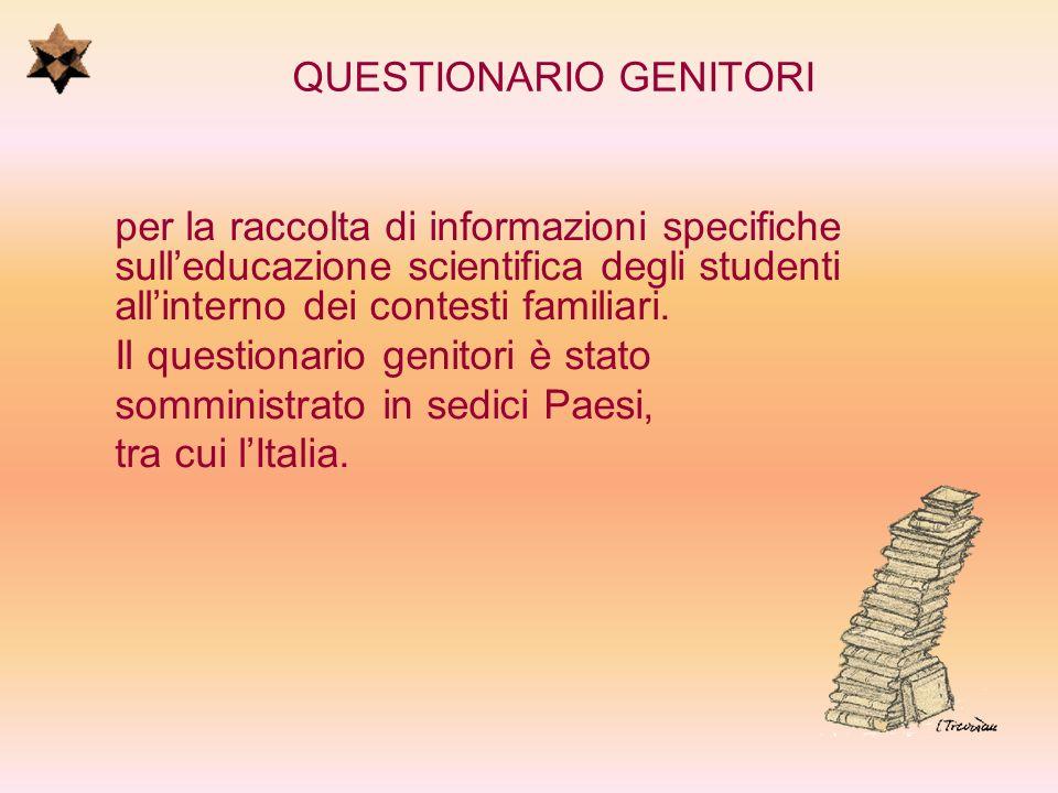 QUESTIONARIO GENITORI per la raccolta di informazioni specifiche sulleducazione scientifica degli studenti allinterno dei contesti familiari. Il quest