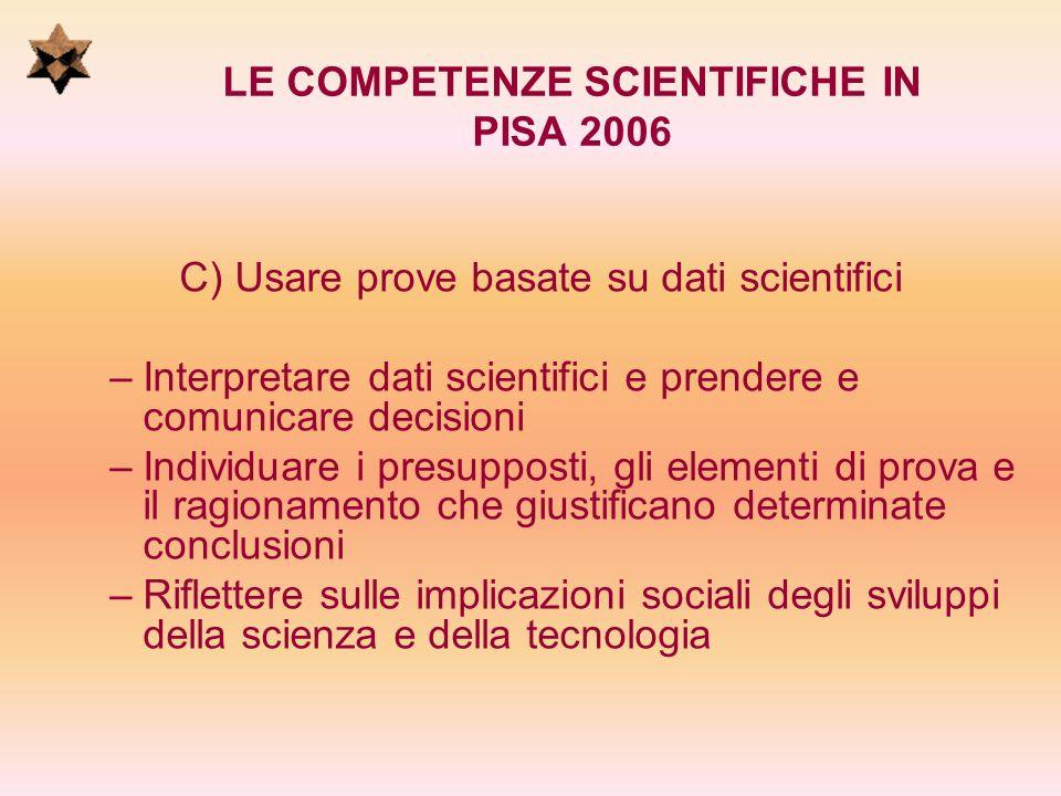 LE COMPETENZE SCIENTIFICHE IN PISA 2006 C) Usare prove basate su dati scientifici – –Interpretare dati scientifici e prendere e comunicare decisioni –