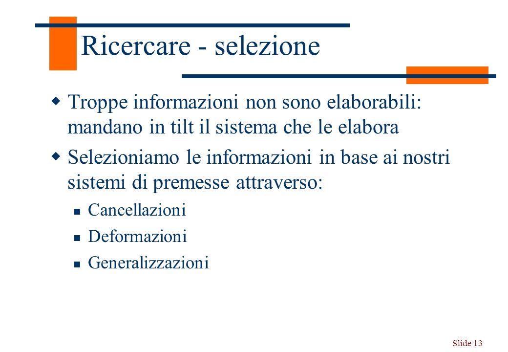 Slide 13 Ricercare - selezione Troppe informazioni non sono elaborabili: mandano in tilt il sistema che le elabora Selezioniamo le informazioni in bas